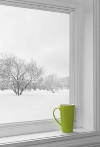 window over looking wintery scene